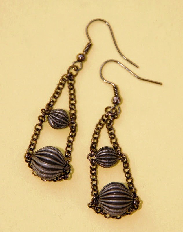 Black Ball and Chain Earrings By Kashmira Patel