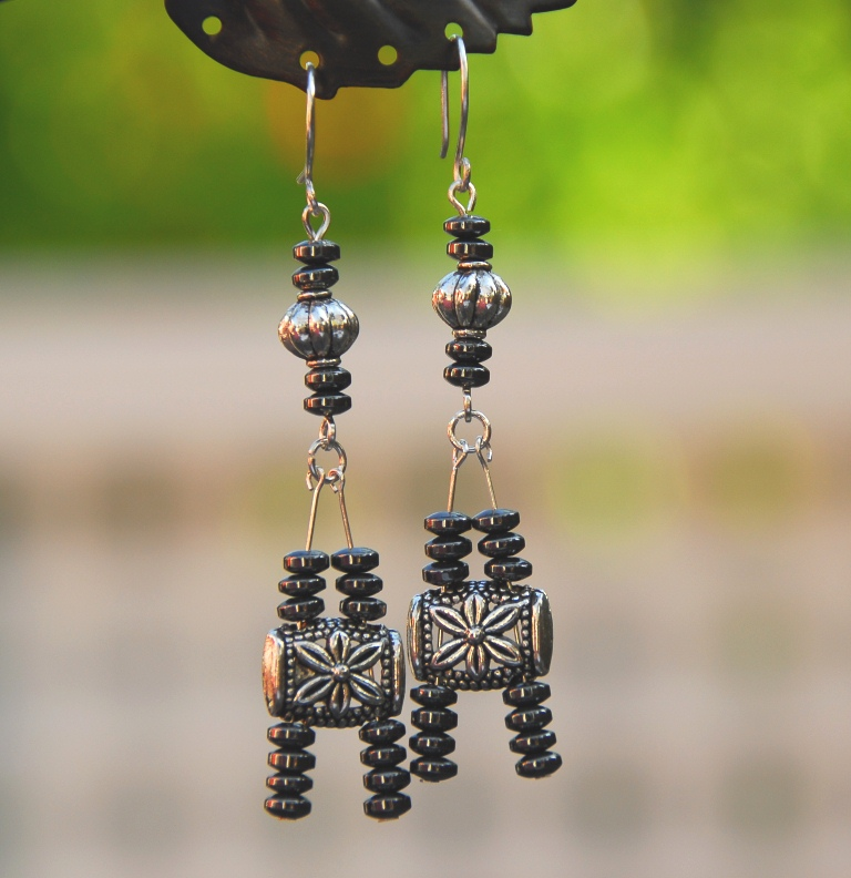 "Silver and Gunmetal ""Eiffel Tower"" Earrings by Kashmira Patel"