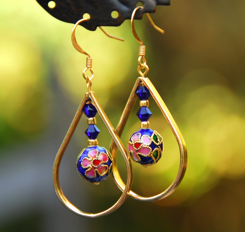 Gold and Blue Cloisonne Teardrop Earrings