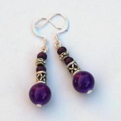 Bali SIlver an Purple earrings