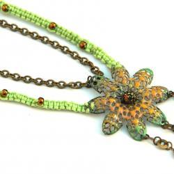 Green Yellow Square Knot Macrame necklace with Hand Enameled iron pendant